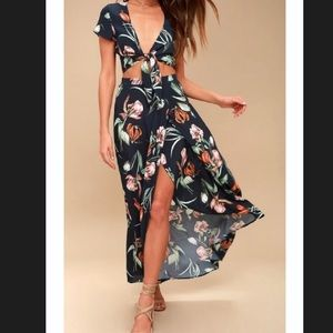 Lulus Magdalena Floral Print Two-Piece Maxi Dress